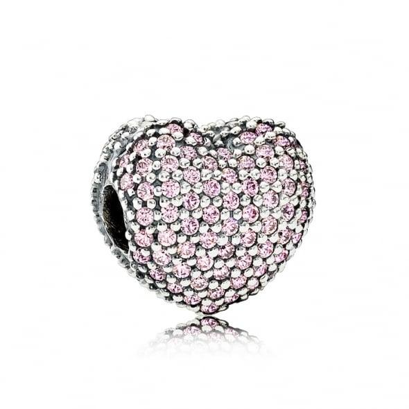 Клипса «Сердце паве» (розовая)