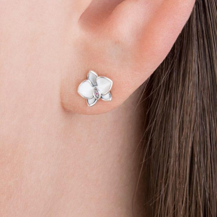 Серьги «Белые орхидеи»