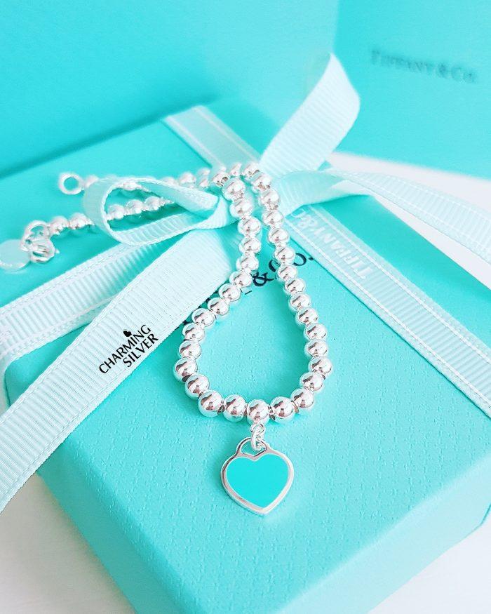 Браслет из бусин с голубой эмалью Tiffany