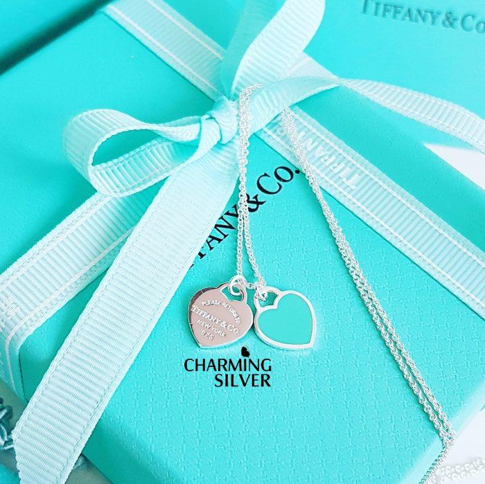 Колье с миниатюрной двойной подвеской и голубой эмалью Tiffany