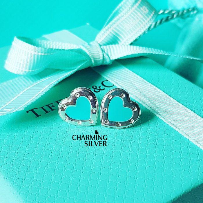 Серьги в форме сердца Love Tiffany с эмалью