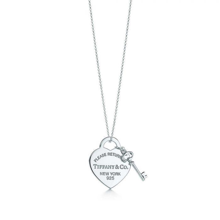 Колье с подвеской в форме сердца с ключом Tiffany
