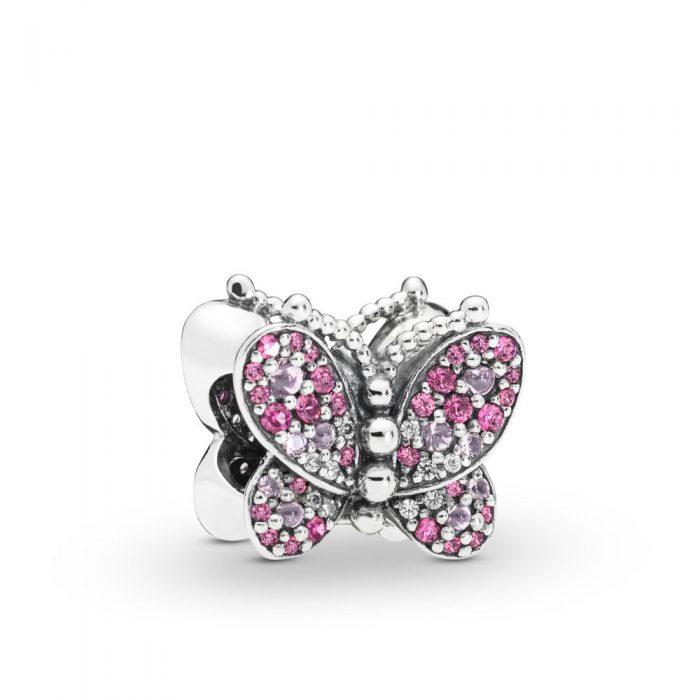"""Шарм Pandora """"Сияющая розовая бабочка"""""""