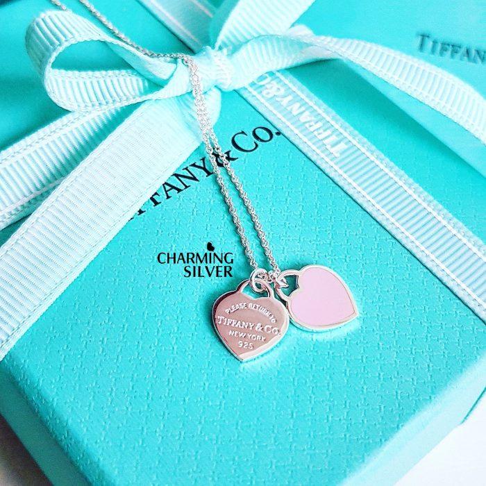Колье с миниатюрной двойной подвеской и розовой эмалью Tiffany