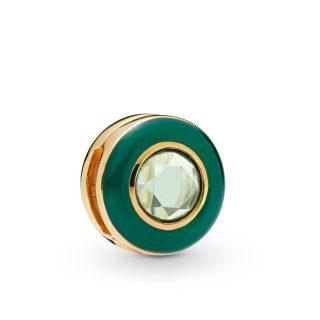 Клипса-шарм «Зеленый сияющий круг» Reflexions