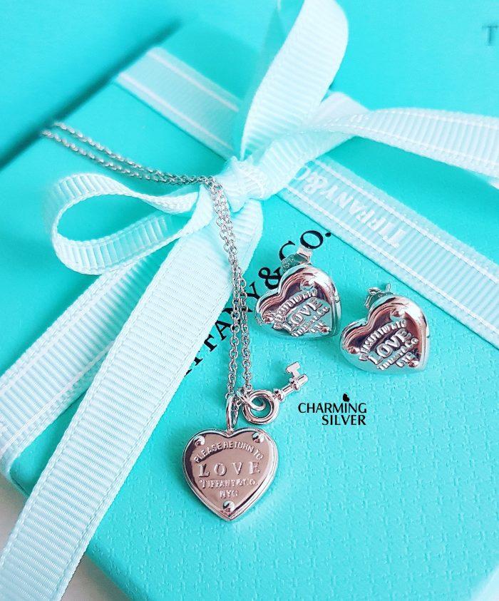 Колье с подвеской Ключом Love и сердцем Tiffany