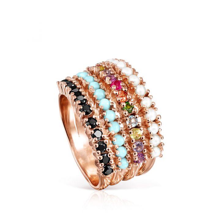 Широкое кольцо Straight с розовым покрытием Vermeil TOUS