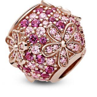"""Шарм """"Розовая ромашка с паве"""" Rose"""