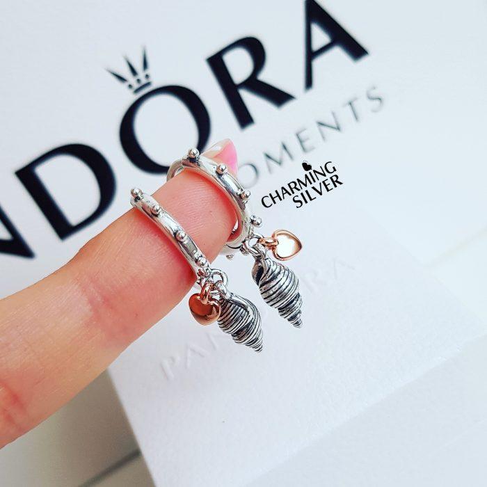 """Серьги-кольца Pandora """"Ракушка и сердце"""""""