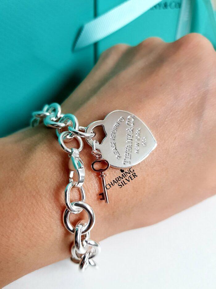 Браслет с подвеской в форме сердца и ключом Tiffany