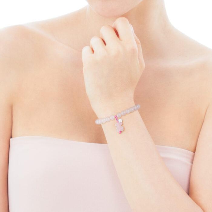Браслет Сolor TOUS с розовым кварцем и серебром