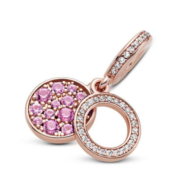 """Подвеска Pandora Rose """"Сверкающий розовый диск"""""""