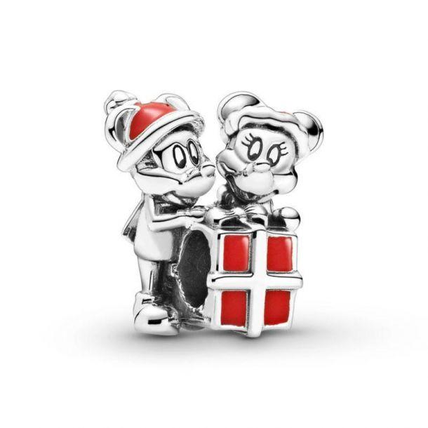 """Шарм Pandora Disney """"Микки и Минни с подарком"""""""