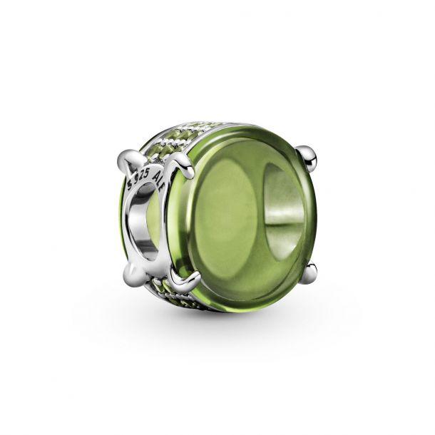 """Шарм Pandora """"Зелёный овальный кабошон"""""""