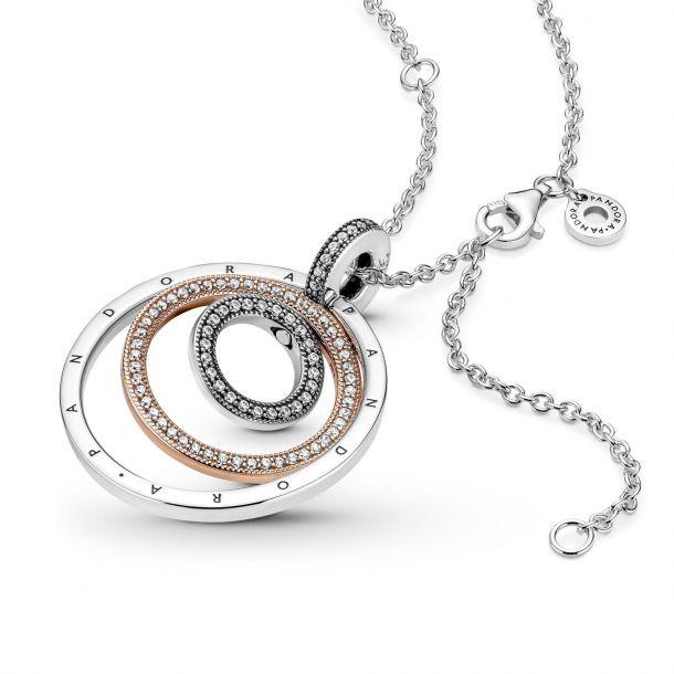 """Колье Pandora """"Кольца в двух тонах"""" арт: 389483C01"""